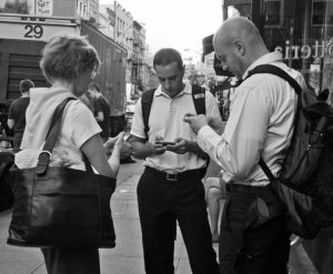 Three people texting